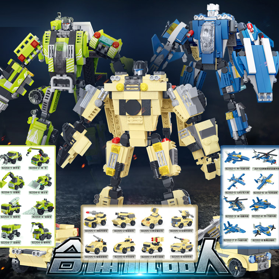 Transformation Mecha Robot Military buliding blocks 8 in 1 compatible with l Technic assemblage bricks for