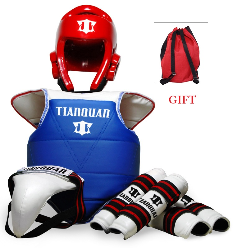 Taekwondo Helmet Chest Crotch Knee Elbow Head Protector Gear Sets for Adult Children Men Women 7pcs xiaomi skating cycling helmet knee pads elbow wrist brace set