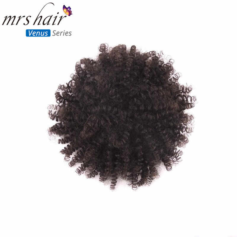 "MRS HAIR High Puff Afro Curly Wig Ponytail 6"" 8"" Drawstring Remy Hair Short Afro Kinky Pony Tail Clip in Hair Extensions"