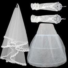 3 1 세트 새로운 웨딩 드레스 레이스 베일/스트레치 새틴 거즈 장갑/깔끔한 페티코트 3 피스 신부 액세서리