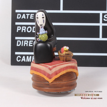 Free Shipping Anime Cartoon Miyazaki Hayao Spirited Away No Face Music Box PVC Action Figure Collection Toy Doll 12cm MHFG018