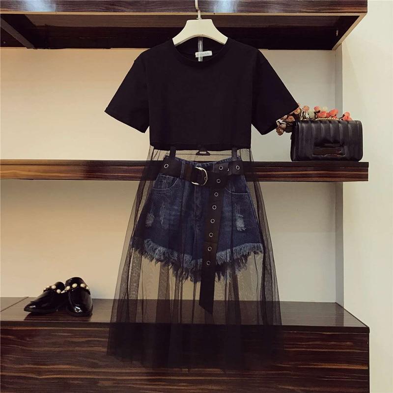 Luxury Quality 2020 Summer Women Mesh Patchwork Black Long T-shirt + Tassel Denim Shorts 2 Piece Sets With Belt