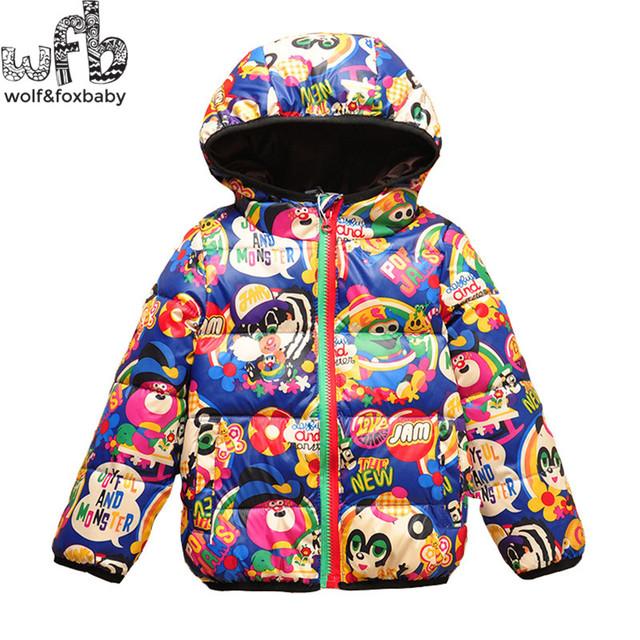 Anos de varejo meninos meninas para baixo do revestimento para baixo-acolchoado bebê Com Capuz crianças casacos de roupas de Vestuário crianças roupas de inverno 2015 da moda