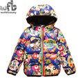 Venta al por menor-$ number años muchachas de los muchachos abajo chaqueta acolchada Con Capucha para bebé Ropa niños abrigos niños ropa de invierno 2015 de moda