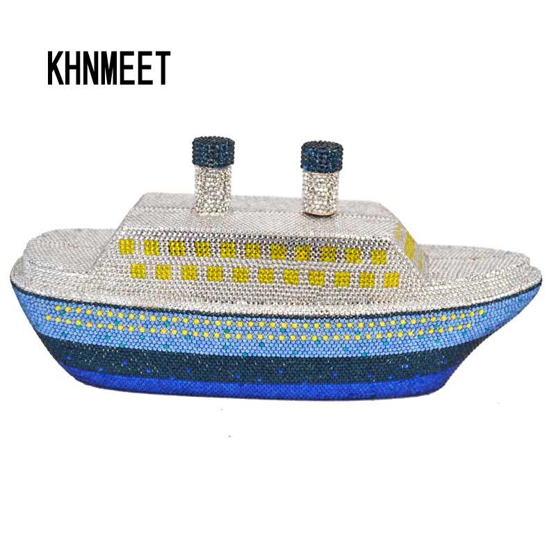 Мода хрустальный корабль дизайнер клатч Diamond лодка вечерняя сумочка; BS010 подводной лодки стразы вечерние кошелек Свадебные Сумки