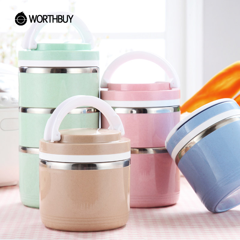 WORTHBUY Japanese Thermal Lunch Box For Kids Wheat Straw Shell Stainless Steel Bento Box Portable Picnic Set Food Containers