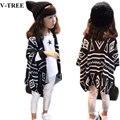 V-TREE Outono e primavera geométrica casacos crianças crianças casacos & casacos de malha do bebê roupas cardigan casacos para as meninas