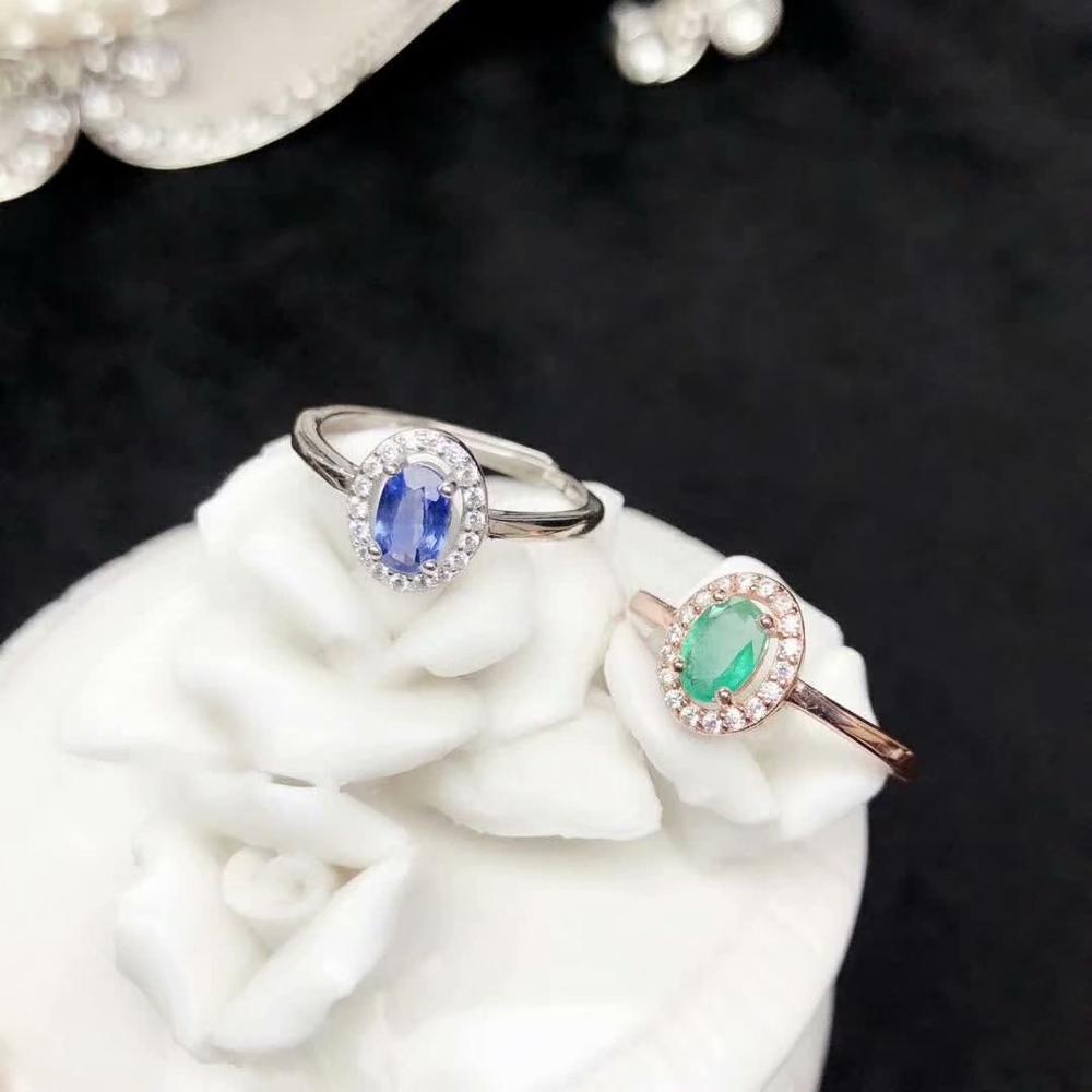 925 sterling argent réel naturel vert émeraude saphir anneaux bijoux fins cadeau femmes de mariage ouvert nouveau 4*6mm yhj0406298agmll