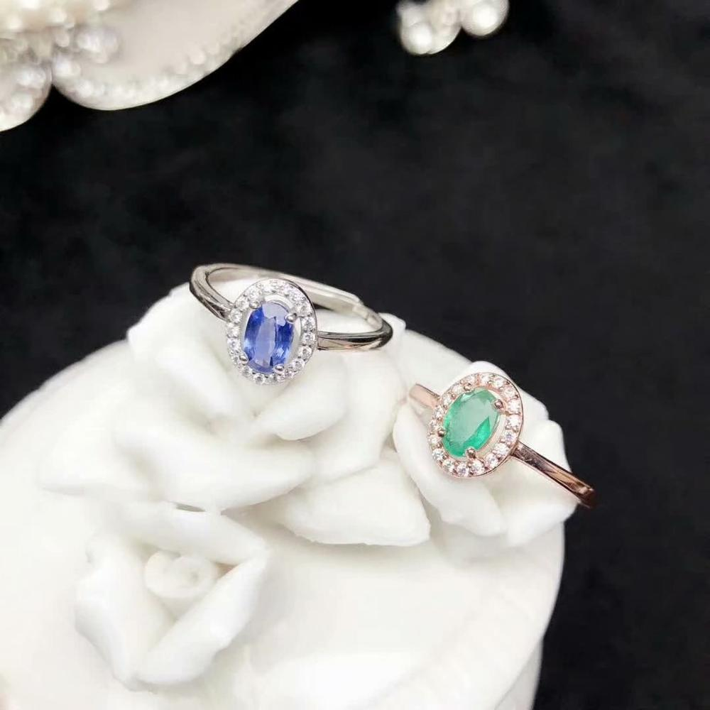 925 sterling silver real Natural green Emerald sapphire Rings fine Jewelry gift women wedding open new 4*6mm  yhj0406298agmll925 sterling silver real Natural green Emerald sapphire Rings fine Jewelry gift women wedding open new 4*6mm  yhj0406298agmll