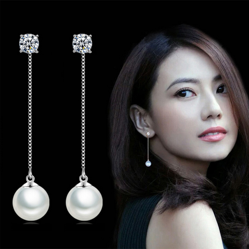 Hot Sale Design Mode smycken New Pearl Crystal 925 Sterling Silver Long Drop Earrings for Women Girls Gift Wholesale