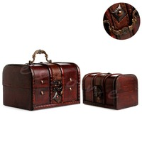 2pcs Chic Wooden Pirate Jewellery Storage Box Case Holder Vintage Treasure Chest Y102