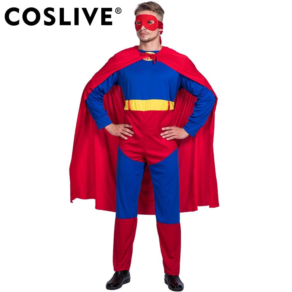 Coslive Superman Cloak Stage Costume Halloween Cosplay Costume For Men Adult