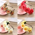 Hair Accessories Flower Hairband Wedding Garland Headband Rose Wreath Ribbon Headpiece Festivals Boho Floral Crown