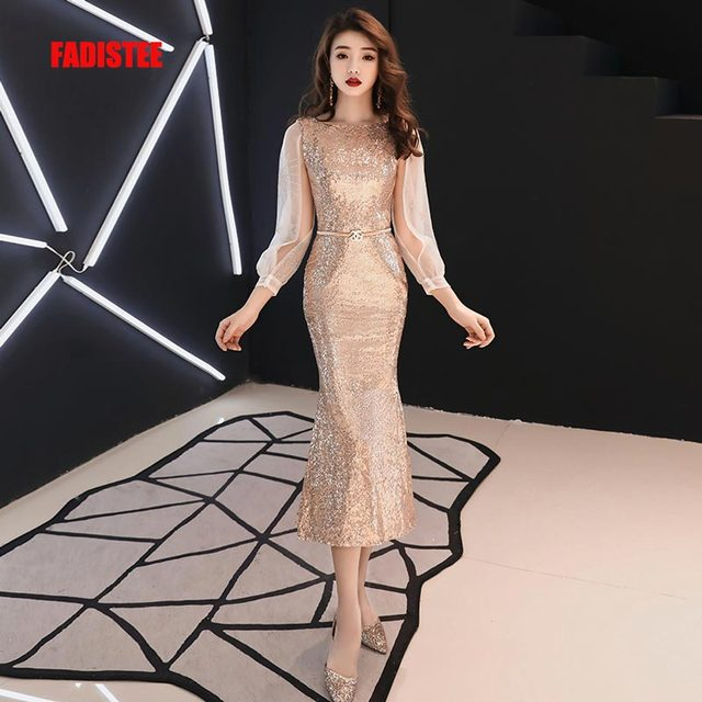 FADISTEE New arrival modern party dress evening dresses prom lace Vestido  de Festa tea-lengt gold full puff sleeves frock 45cee58217cd