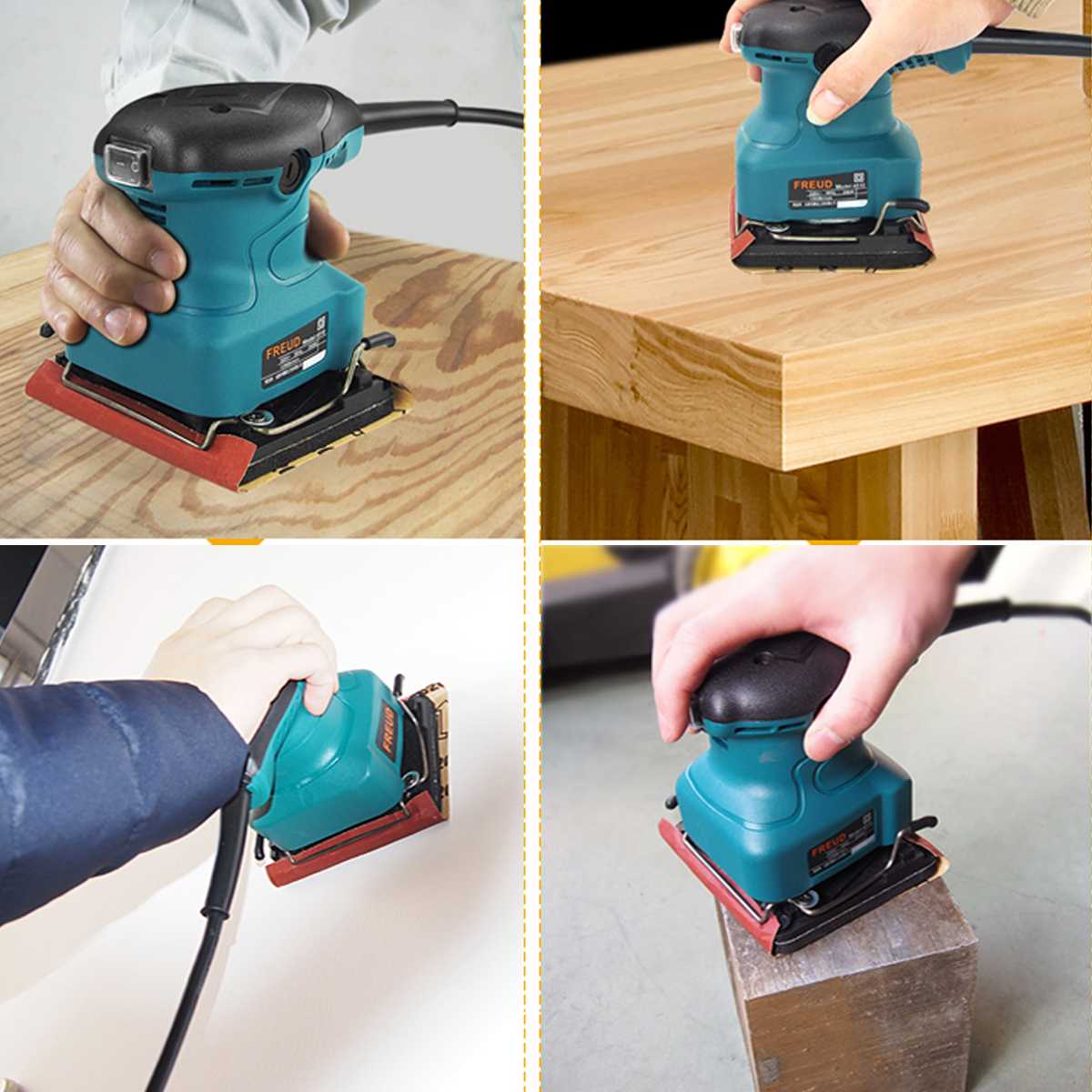 200W Electric Orbital <font><b>Sander</b></font> Machine Wood Polisher Mechanical Furniture Wall Metal Polisher Grinding Machine with Sandpapers image