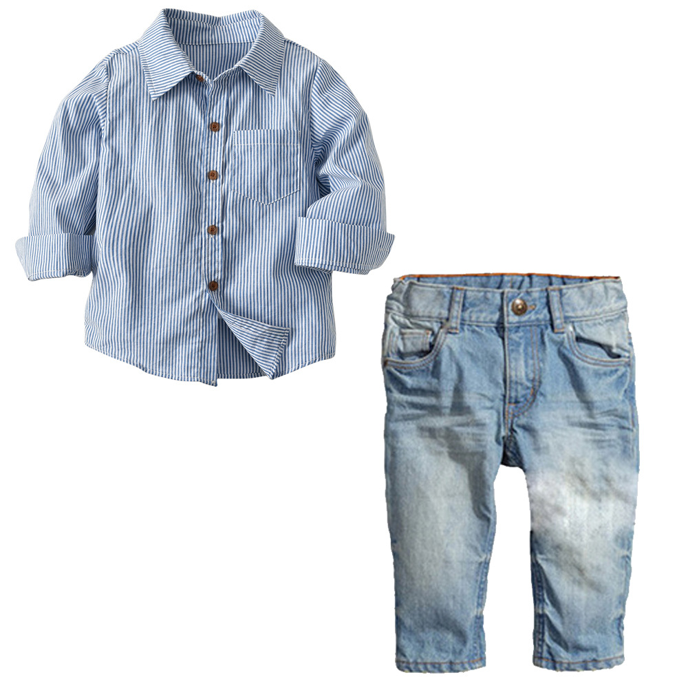 Two Piece Toddler Boys Clothing Set Winter Striped Long Sleeve Shirt Hole Denim Pants Kids Clothing Set Autumn Boys Clothes fashion two piece set white lace hollow out long sleeve clothing set women tracksuits coat top and shorts plus size s xxl