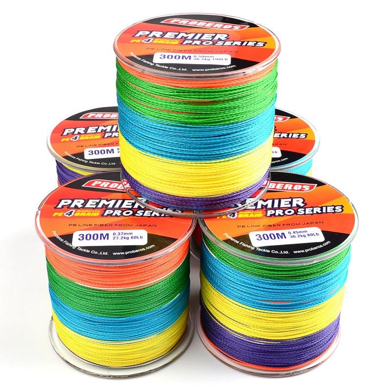 PROBEROS 300M Fishing Lines PE Braid 4 Stands 6LB 8LB 10LB 20LB 100LB Multifilament Fishing Line Multicolor 5M A Color