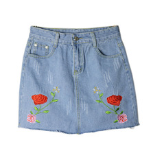 Sexy A-line Floral Embroidery Denim  Skirt Retro New Women A-Line Summer Ladies Mini Skirt Boho Saia Faldas Female