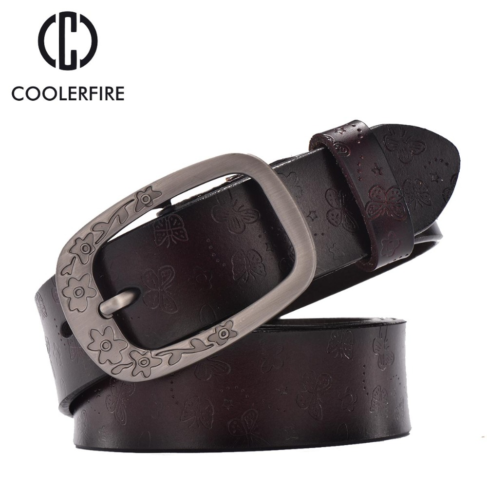 New 2017 fashion belts women retro pin buckle embossed all match belts genuine leather belts for
