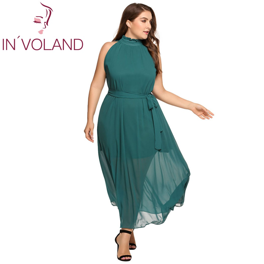 f996a62f575 IN VOLAND Plus Size XL-6XL Women Long Chiffon Dress Oversized Halter  Sleeveless Ruffle Solid Belted Party Maxi Dresses Big Size