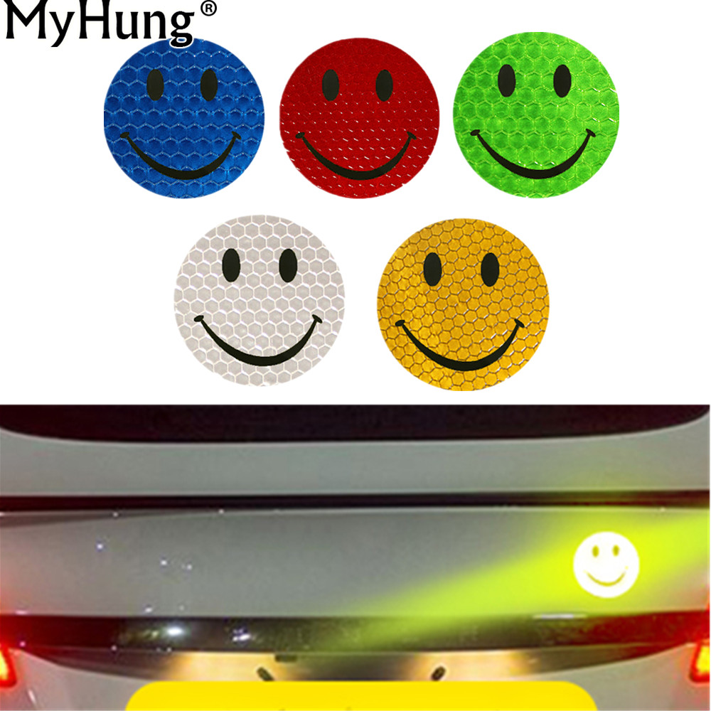 Stickers Smile Decals Reflective Tape Adhesive Stickers Brand Decal Decoration Warning Tape Film Safety Auto Sticker 6x6cm 1Pc