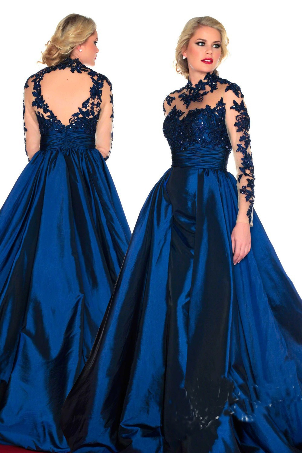 Long taffeta prom dresses
