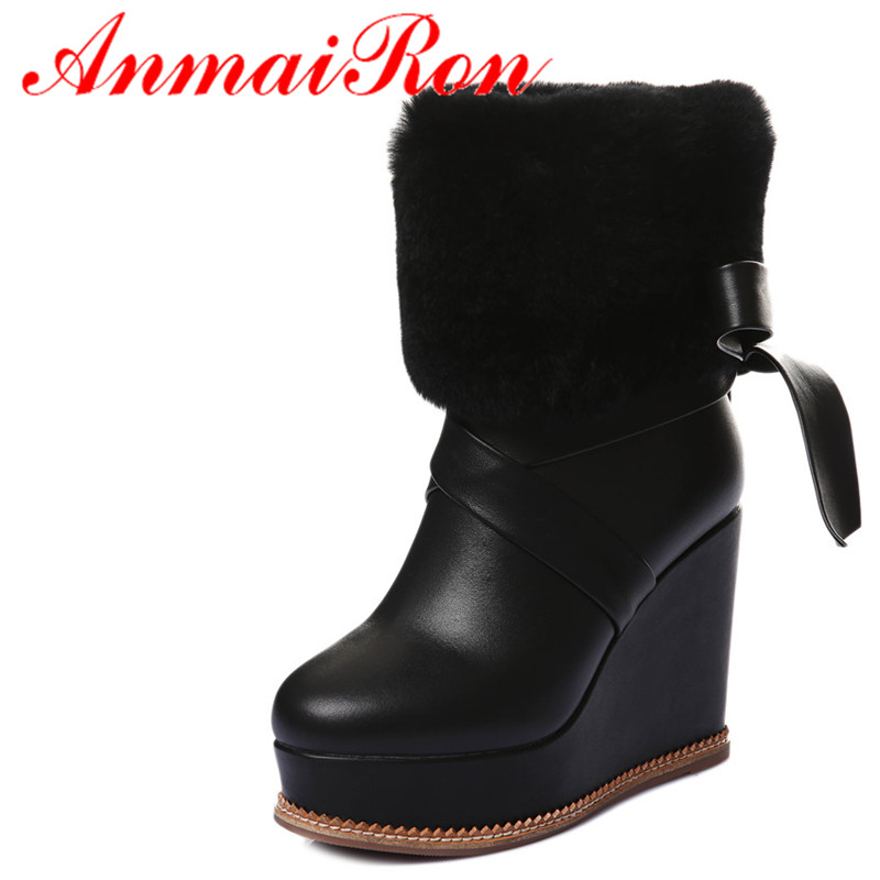 ANMAIRON Wedges Heel Ankle Boots Women High Heel Platform Boots Fashion Winter Fur Boots Black Yellow White Colors Shoes