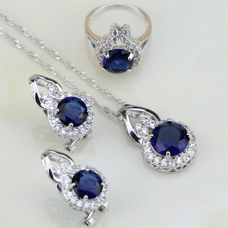 цена на Round Shaped Blue Cubic Zirconia White CZ 925 Sterling Silver Jewelry Sets For Women Wedding Earring/Pendant/Necklace/Ring 3PCS