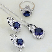Round Shaped Blue Cubic Zirconia White CZ 925 Sterling Silver Jewelry Sets For Women Wedding Earring/Pendant/Necklace/Ring 3PCS