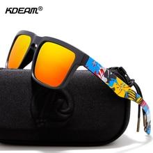 53fa27b97c KDEAM camuflaje polarizado gafas de sol hombres y mujeres fresco  garabateando UV gafas de montura estilo puente con caso duro