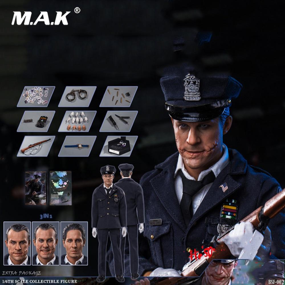 Collectible Full Set Action Figure 1/6 Police Uniform Clown Batman Heath Ledger Joker Model with 3 Head Sculpts for Fans Gift цена и фото