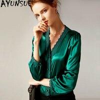 Женская рубашка Весна Осень блузка женская винтажная шелковая блузка атласные женские топы и блузка цвет белый Camisas Mujer MY2343