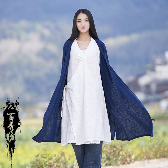 Spring Summer Chinese Style Long Sleeves Cotton And Linen Solid Color Womn Long Jackets 1