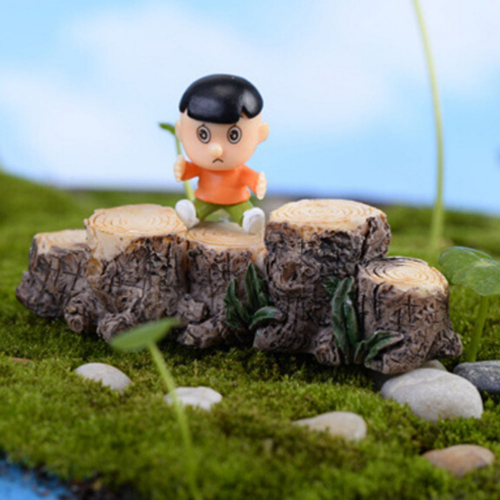 DIY Mini Tree Stump Bridge Model Resin Fairy Garden Miniatures Dollhouse/ Terrarium/ Succulents/ Micro Landscape Decoration