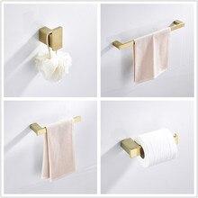 LIUYUE аксессуары для ванной наборы матовый золотой Нержавеющая Сталь Настенный Ванная комната один бар вешалка для полотенец Крючки для халатов рулон