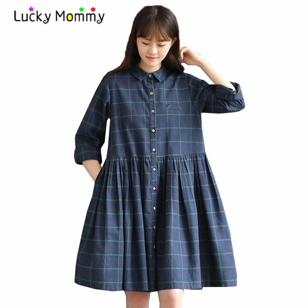 Fall maternity dress promotion shop for promotional fall maternity fall spring plaid casual maternity dress long sleeve elegnat slim maternity dresses charming pregnancy clothes premama clothing ombrellifo Gallery