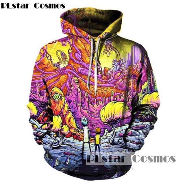 PLstar Cosmos 2017 New Fashion Cartoon Hoodies Men/women 3d Sweatshirts Print Rick and Morty Hoody casual Hoodies Tracksuits