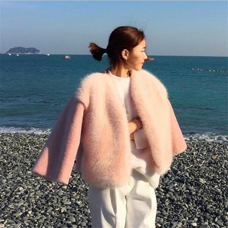 2019 새로운 겨울 여성 모피 코트 한국어 스타일 핑크 - 여성 의류