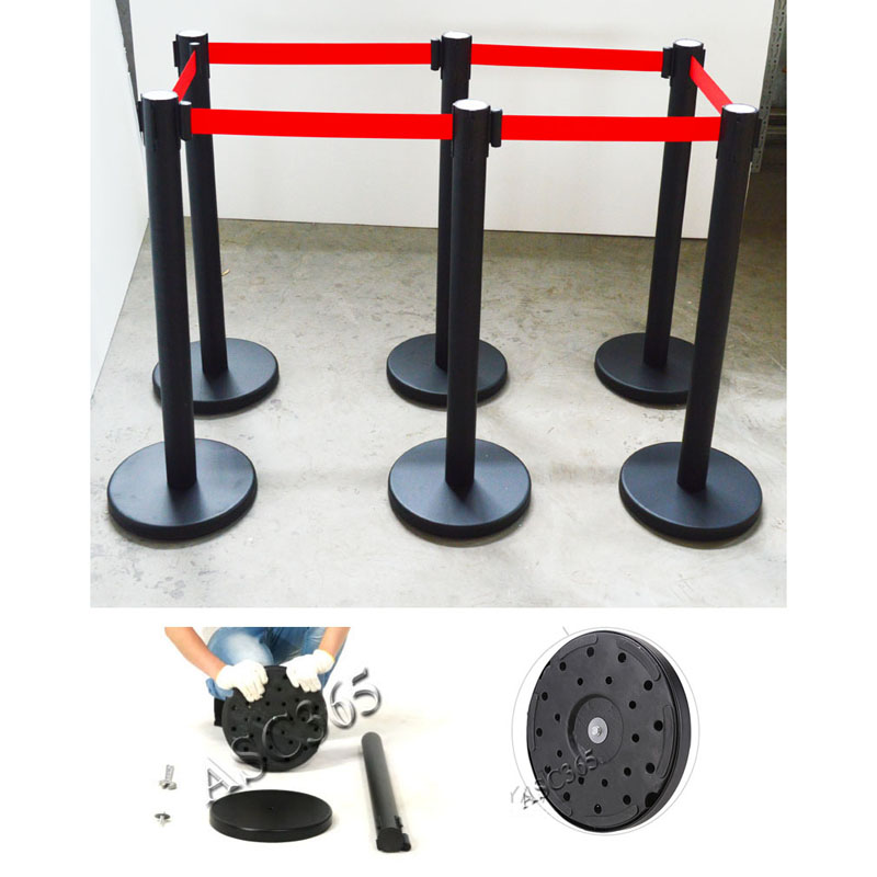 6 Red black Belt Stanchions Posts Queue Pole Retractable Crowd Control Barrier New