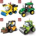 ENLIGHTEN Город Строительство Дорожный Каток Погрузчик Трактор Sweeper Грузовик Строительный Блок Детские Игрушки Совместимость Legoe