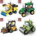 Enlighten construção da cidade estrada rolo empilhadeira caminhão trator caminhão da vassoura bloco de construção crianças brinquedo compatível legoe