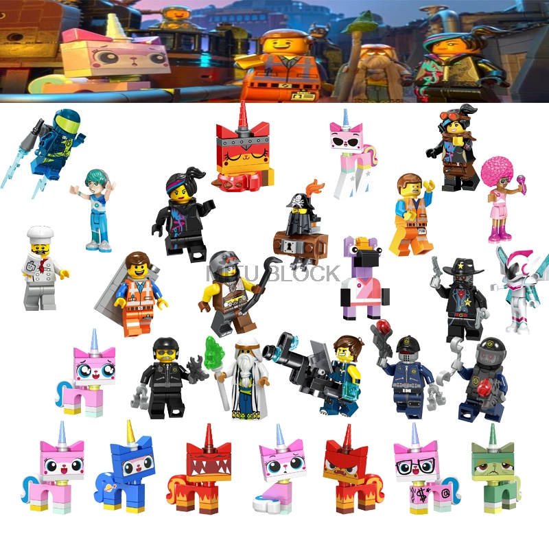 Movie 2 Figures Emmet Sharkira Lord Bussiness Lloyd Bad Cop Batman Wyldstyle Unikitty Building Blocks Toy Gift image