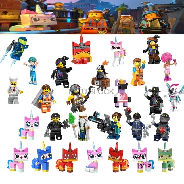 Movie 2 Figures Emmet Sharkira Lord Bussiness Lloyd Bad Cop Batman Wyldstyle Unikitty Building Blocks Toy Gift