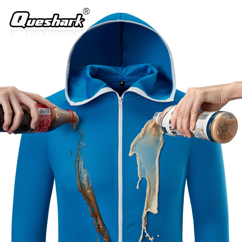 Queshark Waterproof Antifouling Fishing Jacket Men Fishing Clothes Tech Hydrophobic Fishing Clothing Hiking Hooded Jackets