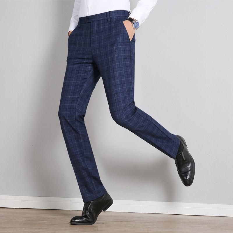Fit Pantalons pu Printemps Uomo Costume Slim Pantaloni Hommes Robe Bureau Plaid Tuta Ciel Bleu Pantalon Formelle D'affaires Hiver 2019 Clasic dPIwqUU