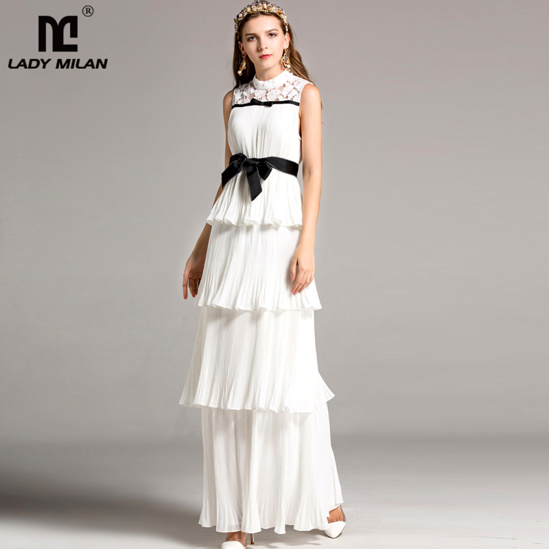 High Quality Women s O Neck Sleevesless Lace Patchwork Tiered Ruffles Sash Belt Prom Elegant Fashion