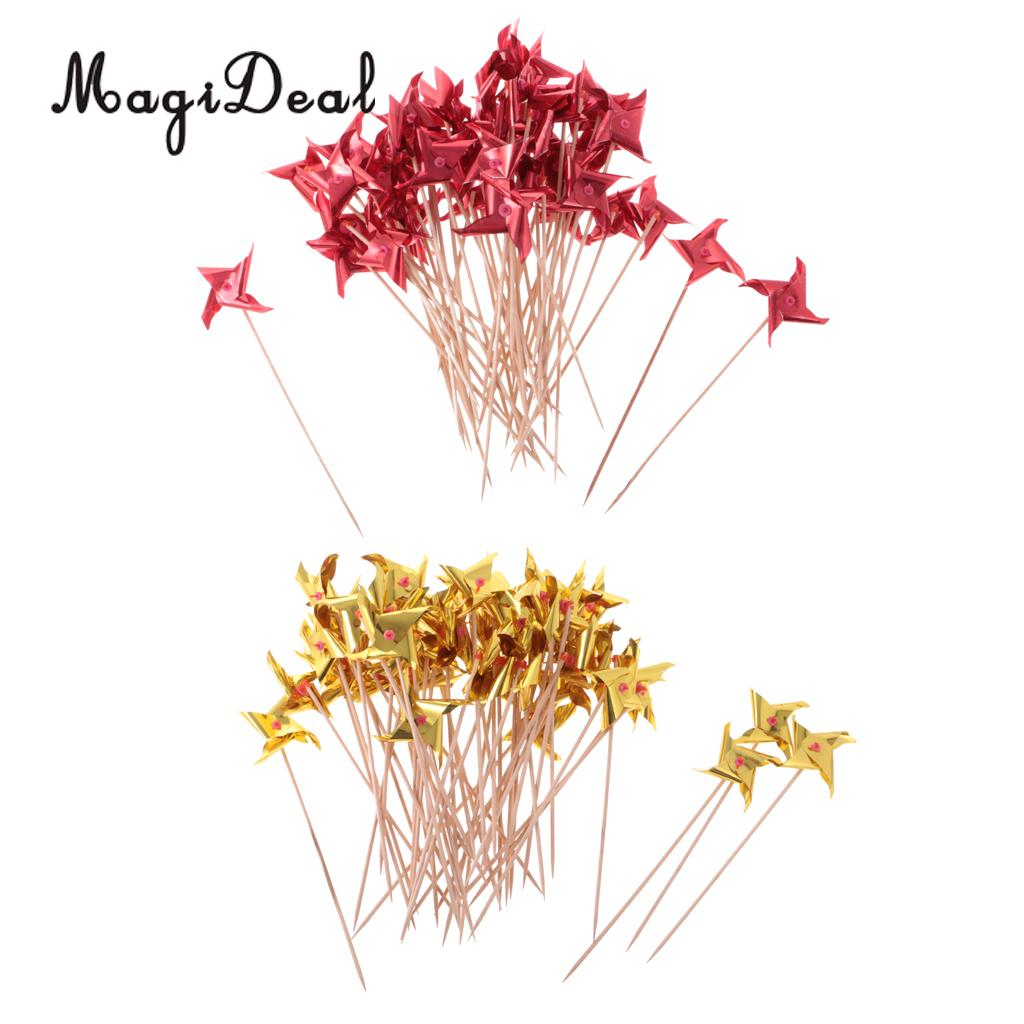 MagiDeal Beautiful 50Pcs Summer Windmill Fruit Sticks Cocktail Picks for Funny Party Halloween Hotel Home Supplies Red / Gold