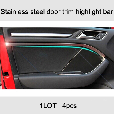 Private interior door trim strip stainless steel bright bar bright body for Audi A3 2013 2014 2016 hatchback sedan car-styling private sun private sun body