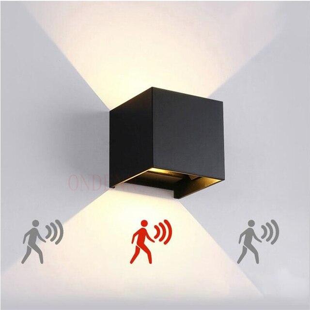 Luminária led de 6w 9w 12w, para áreas internas e externas, à prova d água, ip65, para parede, sensor de movimento radar, varanda arandela de decoração de casa iluminação