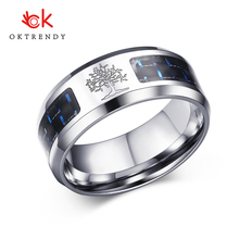 Oktrendy Male Wish Tree Of Life Carbon Fiber Ring Stainless Steel Silver Color Men Wedding Finger Rings
